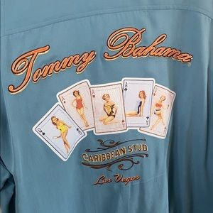 Blue silk Tommy Bahama shirt with embroidery